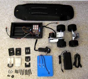 Disassembled electric skateboard